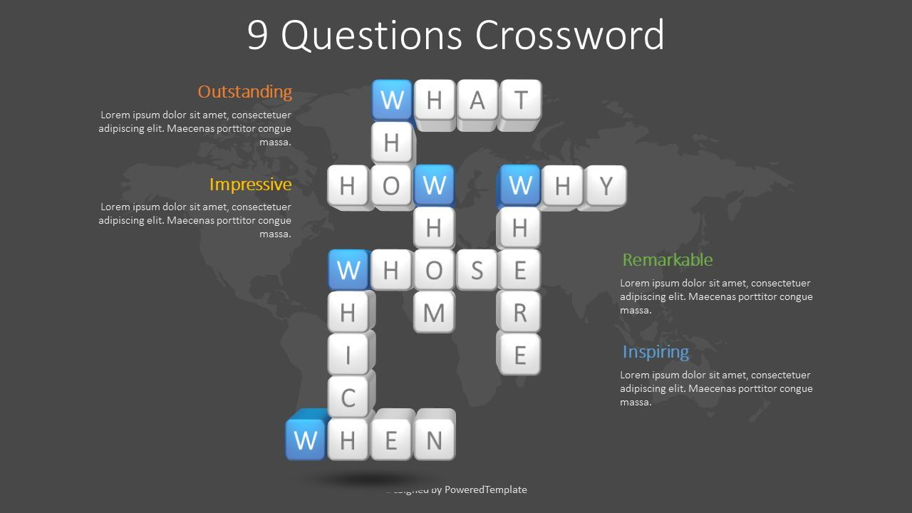 Question Words Crossword, Slide 2, 08626, Education Charts and Diagrams — PoweredTemplate.com