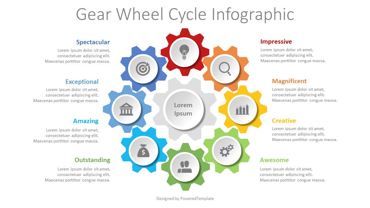 Gear Wheel Cycle Infographic, 08629, Infographics — PoweredTemplate.com