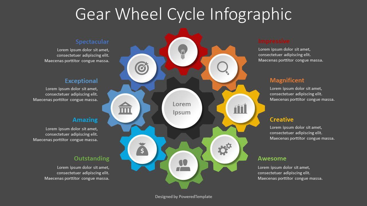 Gear Wheel Cycle Infographic, Slide 2, 08629, Infographics — PoweredTemplate.com