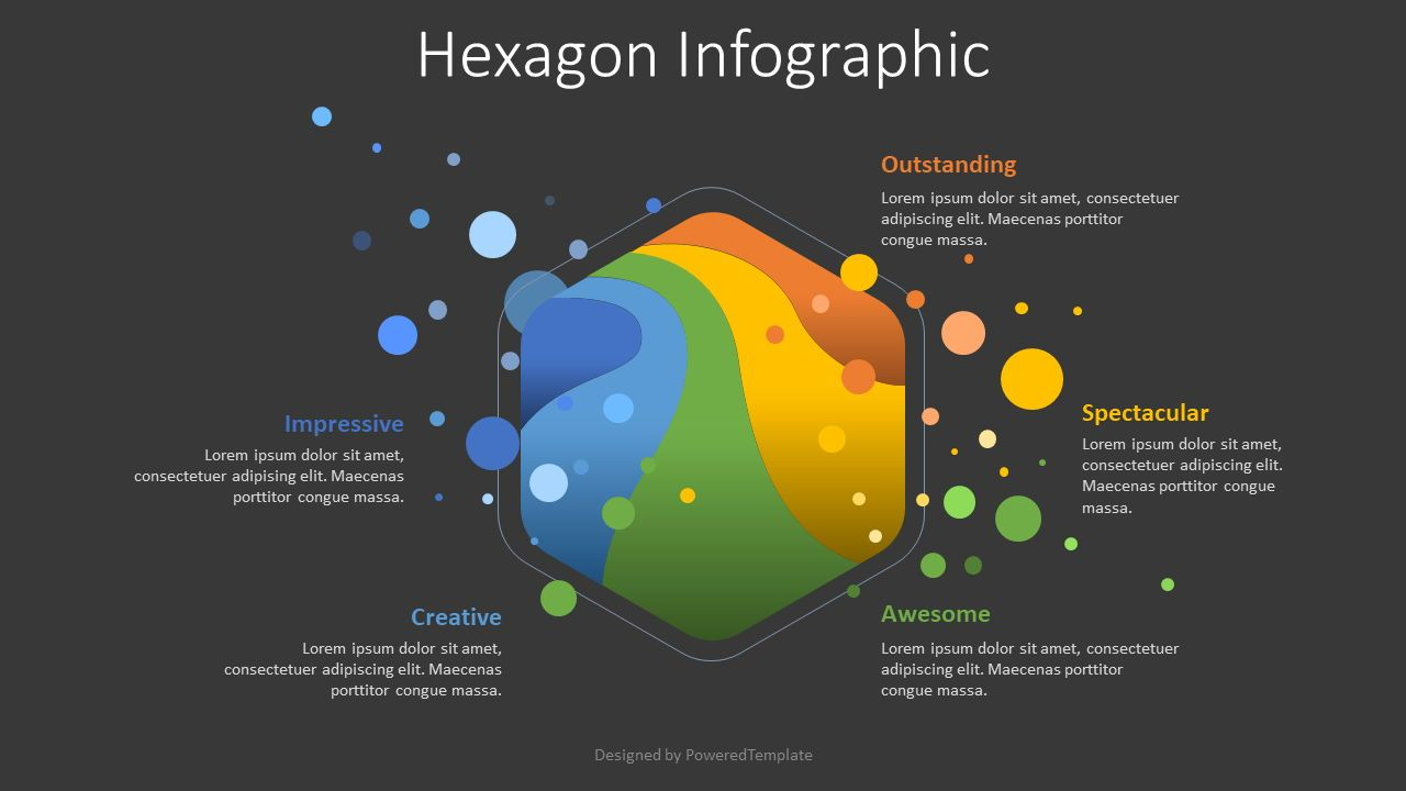 Hexagon and Colored Blobs Infographic, 08632, Shapes — PoweredTemplate.com