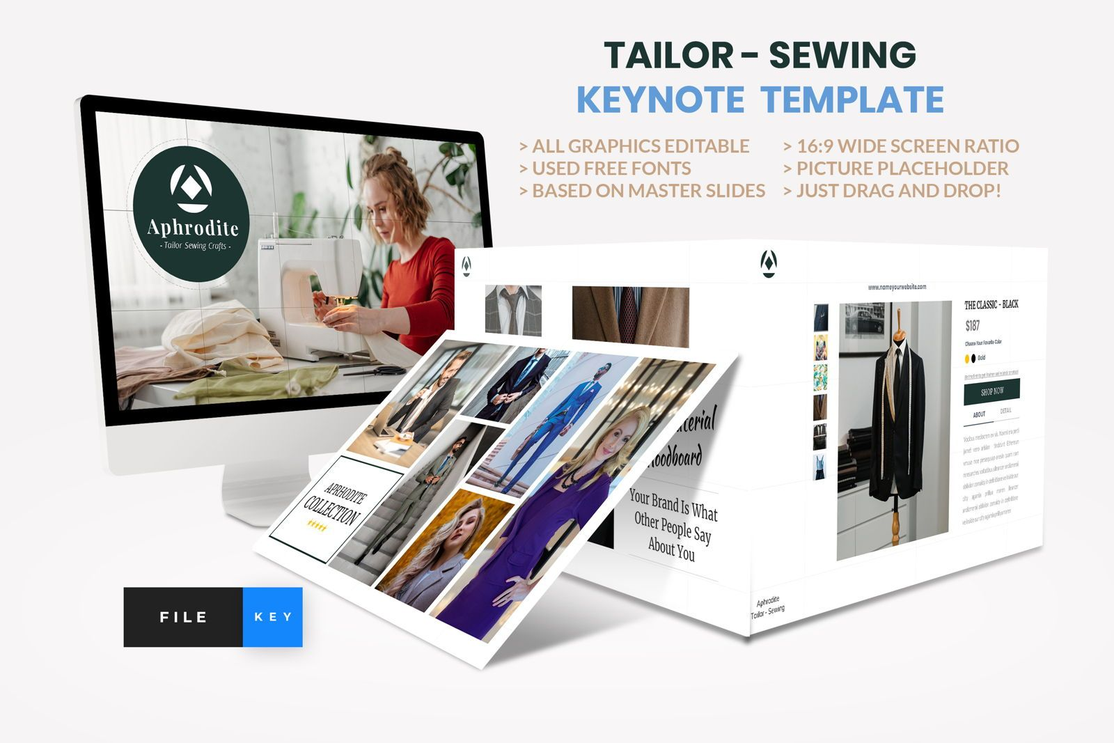 Tailor - Sewing Fashion Craft Keynote Template, 08633, Business Models — PoweredTemplate.com
