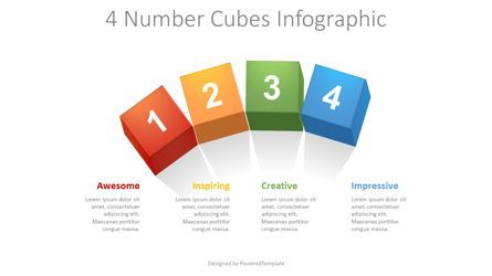 Education Charts and Diagrams: 4 Numbered Cubes Infographic #08650