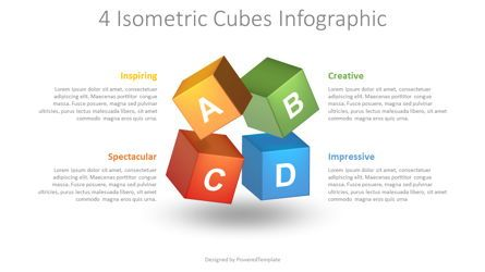 Education Charts and Diagrams: Colored Cubes Infographic #08712