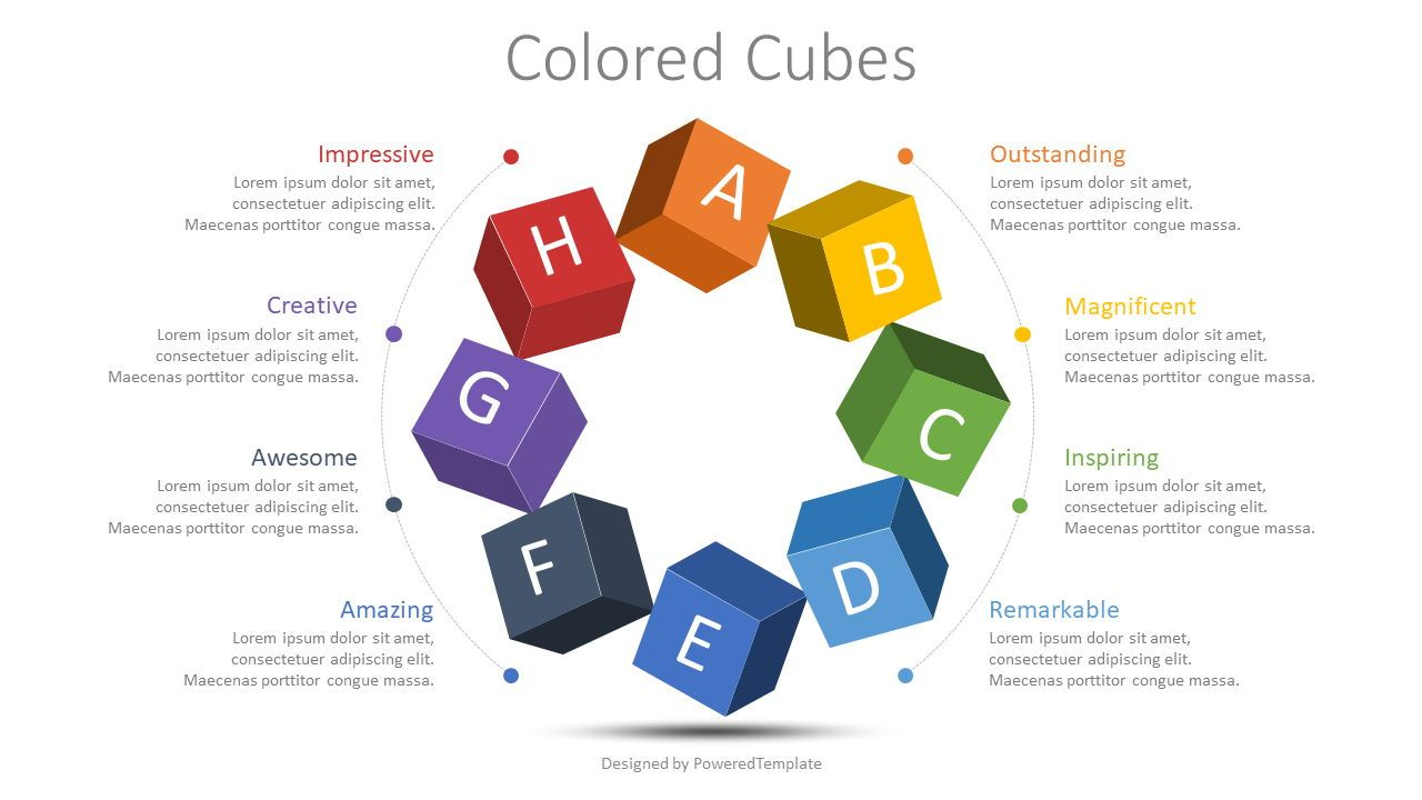 Colored Cubes Round Diagram, 08779, Infographics — PoweredTemplate.com