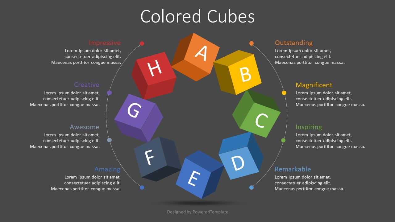 Colored Cubes Round Diagram, Slide 2, 08779, Infographics — PoweredTemplate.com