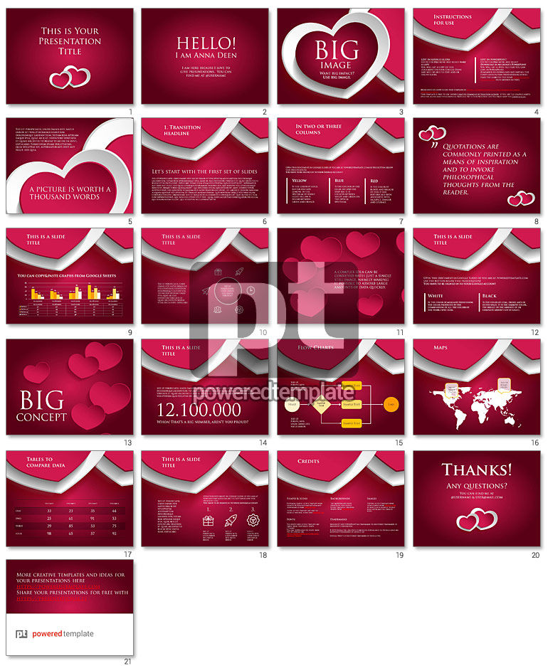 Two Hearts Google Slides Presentation Template