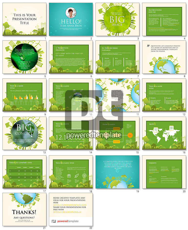 Green City Free Google Slides Presentation Template