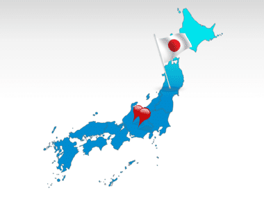 Japan: Mapa de PowerPoint Japón #00009