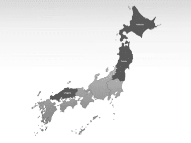 Japan PowerPoint Map, Slide 3, 00009, Japan — PoweredTemplate.com