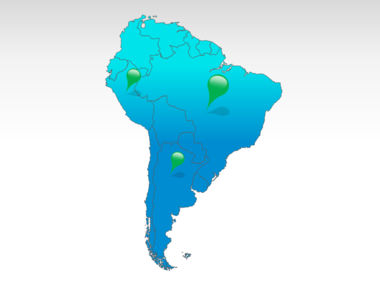 South America: Zuid-Amerika PowerPoint Kaart #00011