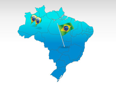 Brazil PowerPoint Map, 00021, Brazil — PoweredTemplate.com