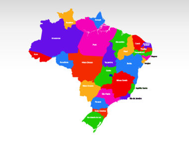 Brazil PowerPoint Map, Slide 2, 00021, Brazil — PoweredTemplate.com