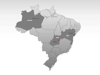 Brazil PowerPoint Map, Slide 3, 00021, Brazil — PoweredTemplate.com