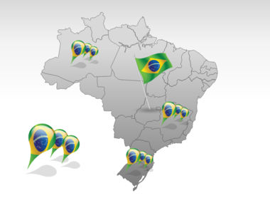 Brazil PowerPoint Map, Slide 4, 00021, Brazil — PoweredTemplate.com