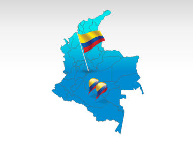 Columbia: Colombia mapa de PowerPoint #00024