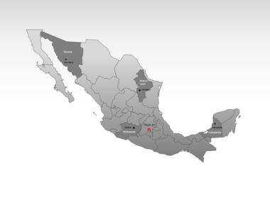 Mexico PowerPoint Map, Slide 3, 00030, Mexico — PoweredTemplate.com
