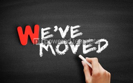 Business: We've Moved text on blackboard #00005
