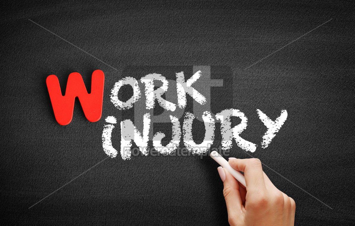 Work Injury text on blackboard, 00007, Business — PoweredTemplate.com