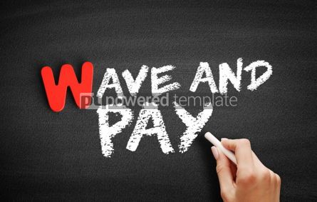Business: Wave and Pay text on blackboard #00016
