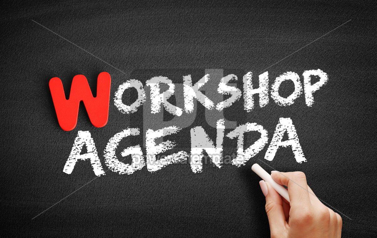 Workshop Agenda text on blackboard, 00034, Business — PoweredTemplate.com