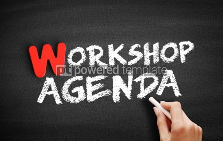 Business: Workshop Agenda text on blackboard #00034