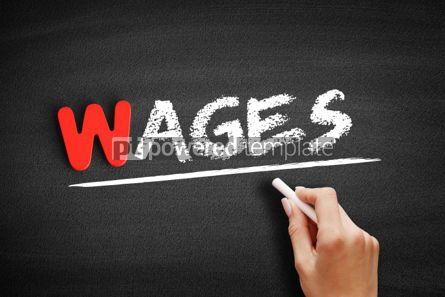 Business: Wages text on blackboard #00041