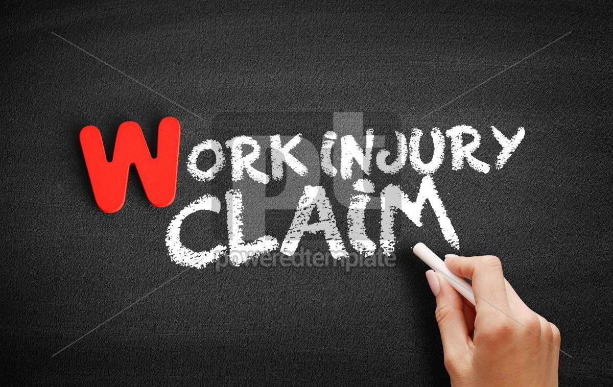 Work Injury text on blackboard, 00048, Business — PoweredTemplate.com