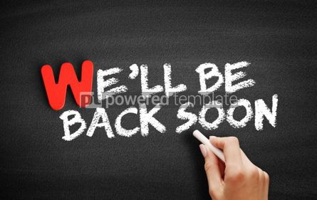 Business: We'll Be Back Soon text on blackboard #00050