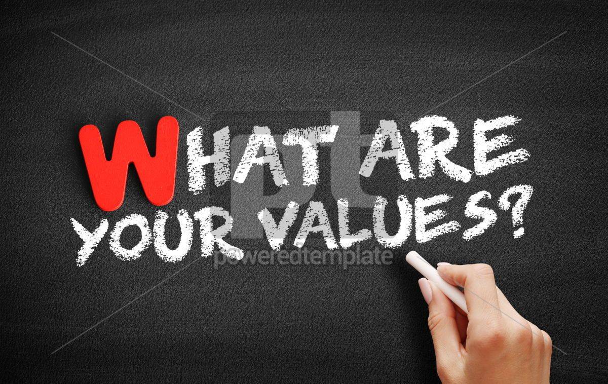 What Are Your Values text on blackboard, 00052, Business — PoweredTemplate.com