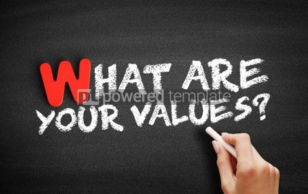 Business: What Are Your Values text on blackboard #00052