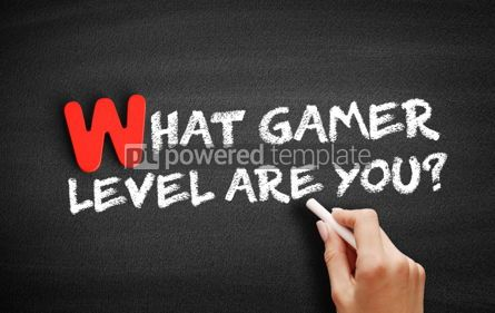 Business: What Gamer Level Are You text on blackboard #00054