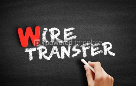 Business: Wire transfer text on blackboard #00065
