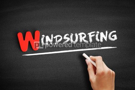 Business: Windsurfing text on blackboard #00069