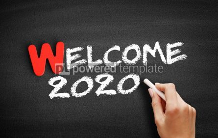 Business: Welcome 2020 text on blackboard #00071