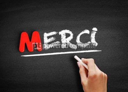 Business: Merci Thank You In French text on blackboard #00074