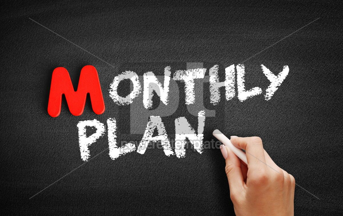 Monthly Plan text on blackboard, 00087, Business — PoweredTemplate.com