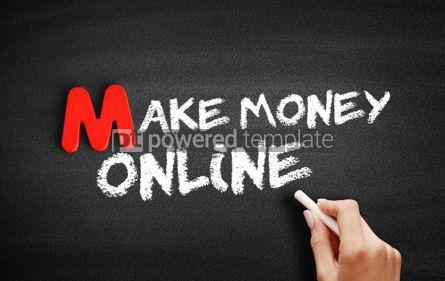 Business: Foto - faça dinheiro texto on-line no quadro-negro #00093