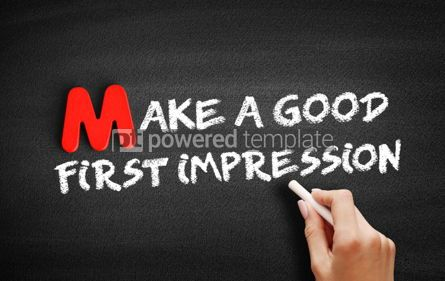 Business: Make a Good First Impression text on blackboard #00101
