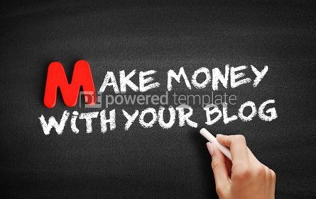 Business: Make Money With Your Blog text on blackboard #00102