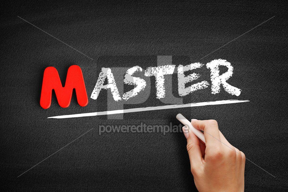 Master text on blackboard, 00105, Business — PoweredTemplate.com