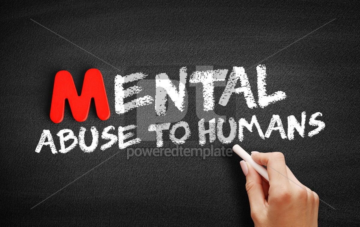 Mental Abuse To Humans text on blackboard, 00106, Business — PoweredTemplate.com