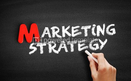 Business: Marketing strategy text on blackboard #00115