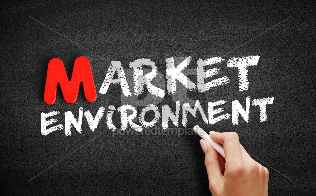 Market environment text on blackboard, 00117, Business — PoweredTemplate.com