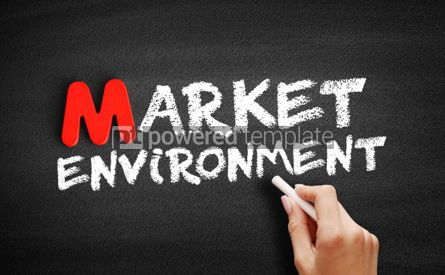Business: Market environment text on blackboard #00117