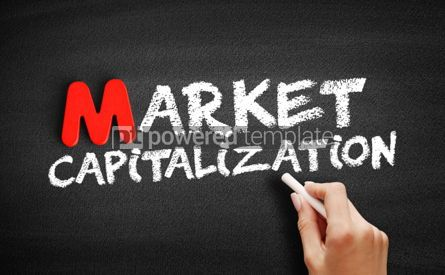 Business: Market capitalization text on blackboard #00119