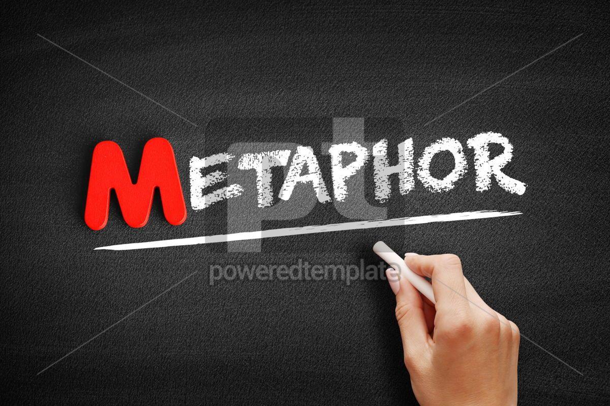 Metaphor text on blackboard, 00126, Business — PoweredTemplate.com