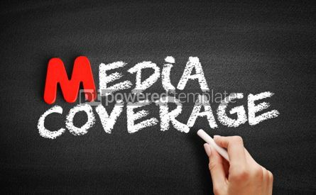 Business: Media coverage text on blackboard #00127