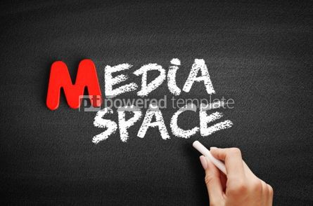Business: Media space text on blackboard #00134