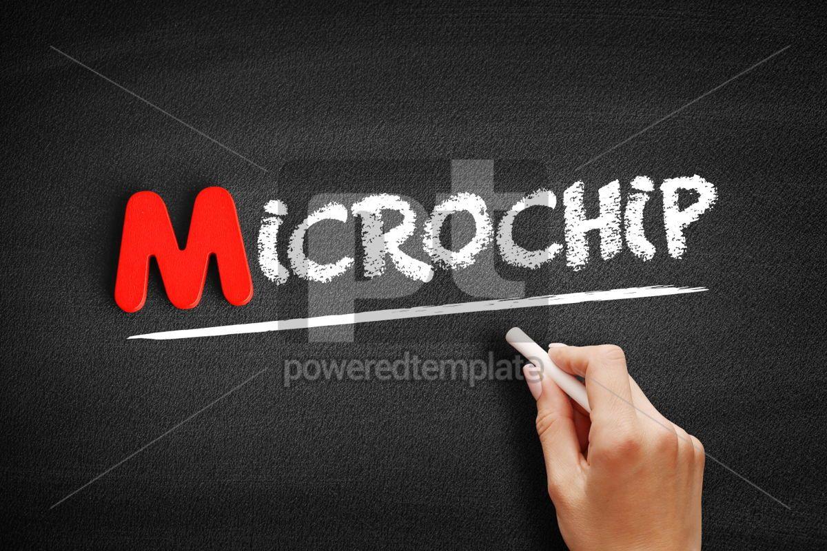 Microchip text on blackboard, 00135, Business — PoweredTemplate.com