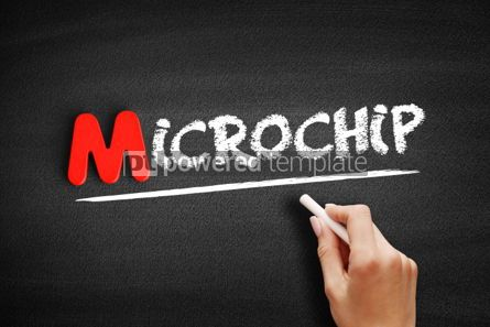 Business: Microchip text on blackboard #00135